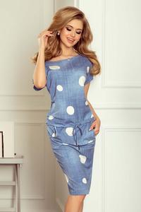 Sporty Blue Jeans Coloured Dress With Dots