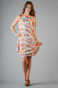 Colorful Rose Printed Balloon Dress with Waterfall Side Panels