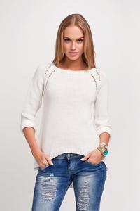 Ecru Casual Sweter with Longer Back
