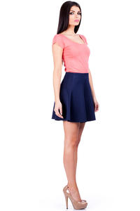 Dark Blue Flared Light Pleates Girlish Mini Skirt