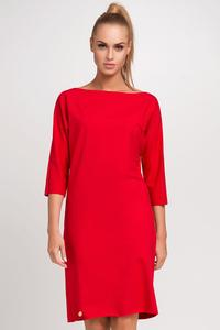 Red Simple Little Boat Neckline Dress