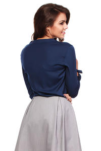 Navy Blue Cut Out Bow tie Blouse with Long Sleeves