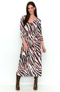 Brown Long Patterned Dress with V-neck