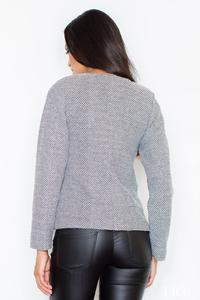 Grey Short Jacket with Four Front Pockets and Snaps Closure