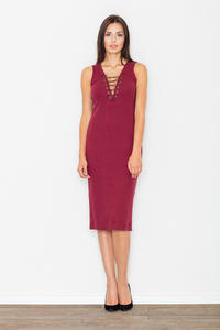 Maroon Bodycon Lace-up Midi Dress