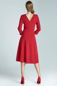 "Red Elegant Midi Dress with ""V"" Back"