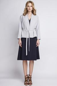 Grey Stylish Self Tie Belt Blazer