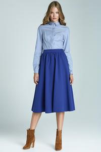 Blue Prom Pleated Midi Skirt