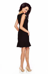 Black Classic Sleeveless Frilled Dress