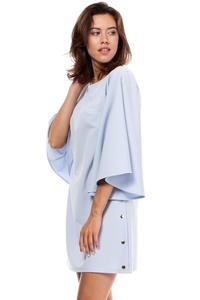 Sky Blue Kimono Sleeves Mini Casual Dress