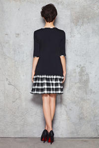 Navy Blue Drop Waist Dress with Checkered Black White Panel