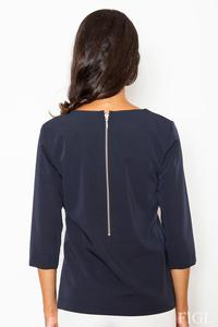 Dark Blue 3/4 Sleeves Blouse with Zippers