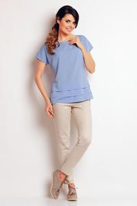 Light Blue Classic Short Sleeves Blouse