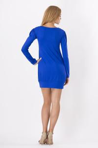 Dark Blue Long Sleeved Square Neckline Mini Dress