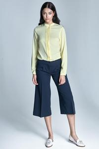 Yellow Long Sleeves Stand-up Collar Blouse
