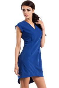 Blue Dipped Hem Sleeveless Mini Dress