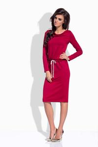 Maroon Drawstring Waist Midi Dress