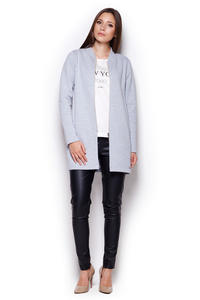 Grey Casual Zipper Closure Stand-up Collar Short Coat