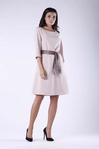 Beige Flared Dress With Leopard Belt