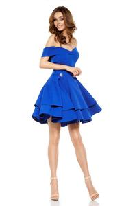 Blue Off Shoulders Party Dress - Flared