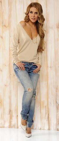Beige Oversized Deep Loose Neckline Blouse