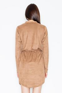 Brown Snaps Closure Mini Dress