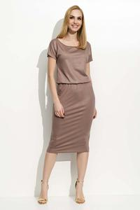 Cappuccino Pencil Dress with Elastic Waist