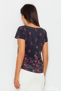 Black Short Sleeves Floral Pattern Blouse