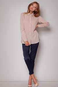 Straight Cut Work Beige Shirt with Side Slits