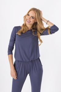 Dark Grey Comfortable Wrinkled Long Sleeves Jumpsuit
