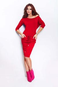 Red Casual Style Drawstring Waist Dress
