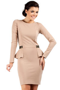 Coffee Seam Shift Dress with Decorative Zipper Pockets