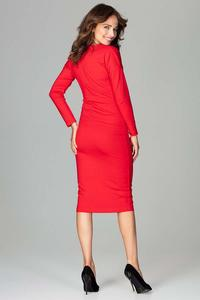 Red Wrap Front Pencil Dress