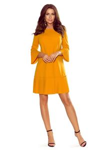 Mustard Formal Dress with Pleated Frills