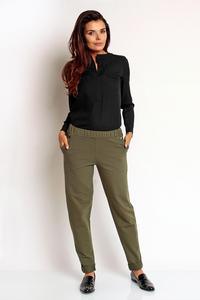 Khaki Tapered Legs Elastic Waist Casual Pants