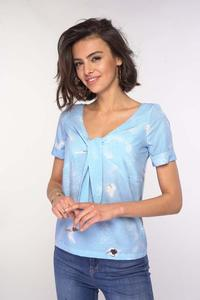 Blouse with a tie at the V-neck - Blue