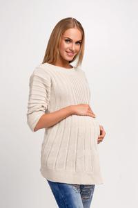 Beige Asymmetric Maternity Sweater