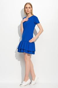 Blue Short Sleeves Double Frill Mini Dress