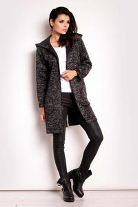 Black Zipper Closure Hooded Coat