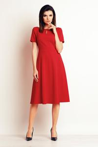 Red Short Sleeves Flared Midi Dress
