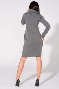 Grey Casual Tourtleneck Dress