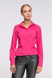Dark Pink Classic Shirt with Double Pockets