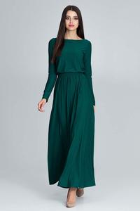Green Long Sleeves Maxi Dress