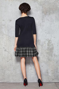 Navy Blue Drop Waist Dress with Checkered Grey Panel