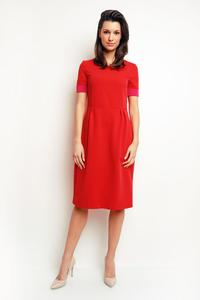 Red Midi Dress with Piping at The Sleeves