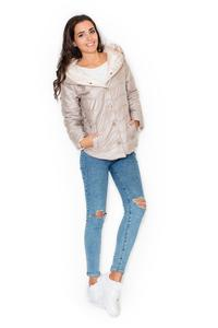 Beige Light Padding Hooded Snaps Closure Short Jacket