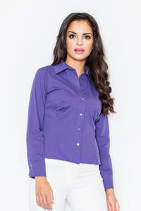 Collared Purple Shirt with Top Stitch Bust Seams