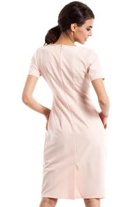 Powder Pink Wrinkled Slim Waist Knee Length Dress