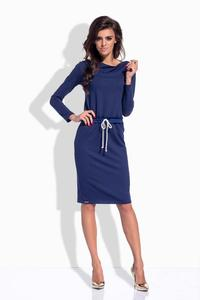 Dark Blue Drawstring Waist Midi Dress