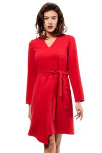 Red Asymmetrical Cut V-Neckline Dress with a Belt